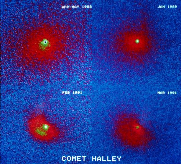 KOlaž slika komete 1P/Halley, na trećoj slici vidite trenutak eksplozije koja se dogodila pri izlazu iz solarnog sutava nakon što je kometa 22.01.1991. udarila u solarne vjetrove.