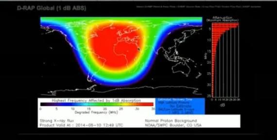 Teleomunikacijske anomalije se očekuju na području označene crvenom bojom.