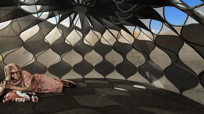 Nevjerojatna unutrašnjost laganog pletenog skloništa koje se može spakovati za manje od sat vremena.