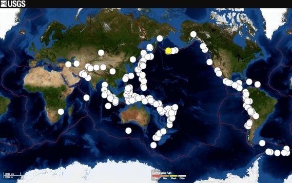Karta potresa jakosti veće od 7 stupnjeva po Richteru u periodu 2000. do 2014. godine.