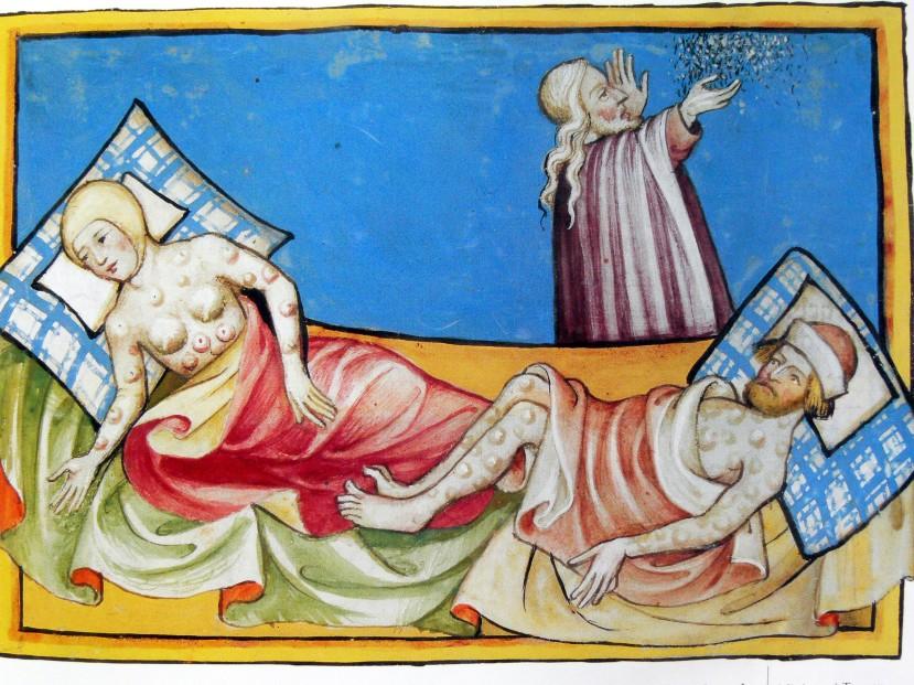 Prikaz  tipičnih plikova ebole - crne kuge u Bibliji iz Toggenburga iz 1411. Povijest se ponavlja, na nama je hoćemo li mi to saznati prije, spremni ili kasnije - nespremni.