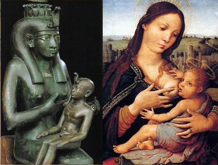 Isis i Marija sa svojim božanskim sinovima. Tko tu koga oponaša?