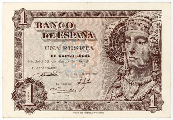 Francov ponos na novčanici od jedne pezete.