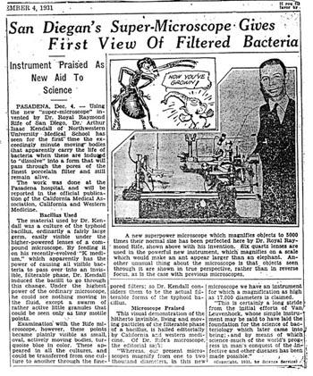 Novinski uradak posvećen Rifeovom moćnom mikroskopu.