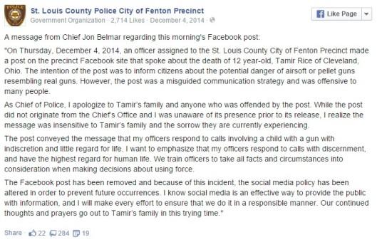 Odgovor šefa policije St. Louisa.