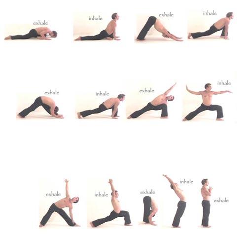 Vinyasa je niz povezanih pokreta uz kontrolirano disanje, kratko ostajanje u asanama i nastavak do kraja niza.