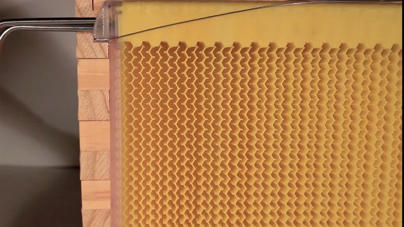 Uz pomoć okreatanja ključa saće se otvara kako bi med istekao u pripremljenu posudu.