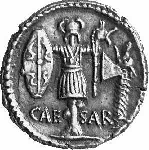 Novac s efigijom božanskog Julia Cezara.