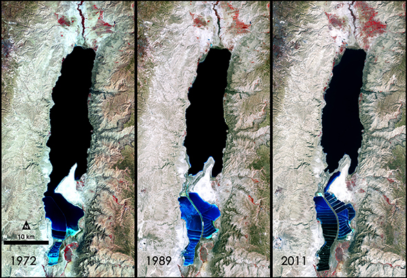 """Mrtvo more nepovratno nestaje zbog ljudske pohlepe i neumjerene potrošnje vode iz rijeke Jordana i vađenja soli. S povlačenjem """"mora"""" nastaju velike vrtače."""