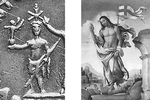 Na lijevo prikaz božasnkog cezara , na desno prikaz božanskog Isusa.