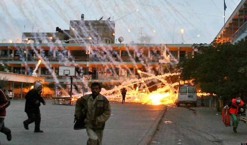 Eksplozija dijela projektila s bijelim fosforom u Palestini.