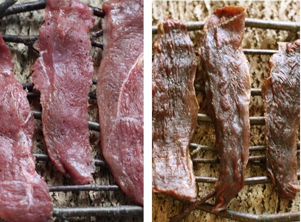 Očišćeno i isječeno meso prije i nakon sušenja.