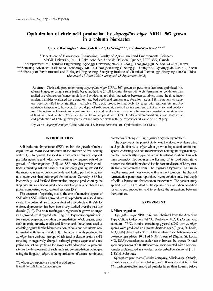 Optimizacija proizvodnje limunske kiseline s A. niger.