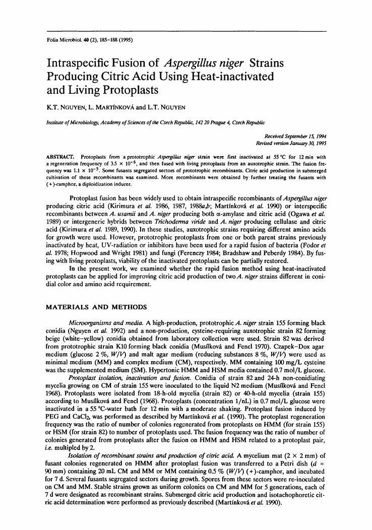 Proizvodnja limunske kiseline s mutiranim plijesnima A. niger.