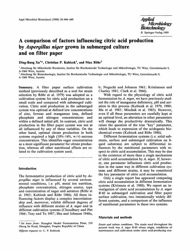 Studija o stvaranju limunske kiseline s A. niger.