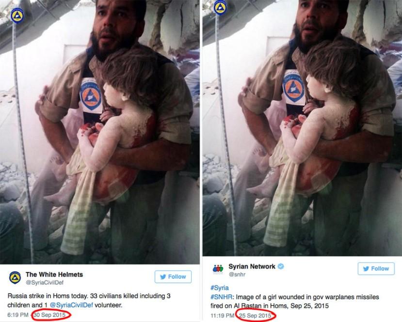 """Reciklirane fotografije služe kao """"dokaz"""" o civilnim žrtvama u Siriji. Obratite pažnju na datum s jedne i sruge strane, na lijevoj strani """"Bijeli šljemovi"""" fotokrafiju koriste protiv Rusa, a na desnoj strani je ista forografija objavljena pet dana prije kao dokaz civilnih žrtava koje su stvorile snage predsjednika Assada."""