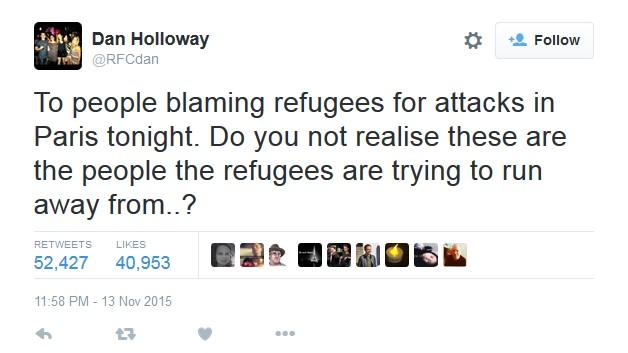 """Odličan tweet u kojemu se vrlo jasno daje do znanja da ne mogu svi """"popušiti"""" izjednačavanje izbjeglica s teroristima."""