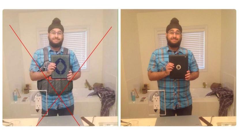 Kako se fotomontaže prezentiraju kao vijesti s kojima bi se trebala stvoriti mržnja prema muslimanima i strah od terorizma. Na slici vidite kanadskog sika kojeg su lažljivci brzo pretvorili u bombaša.