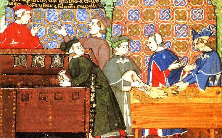 Prvi moderni bankari su se pojavili tijekom Srednjeg vijeka na tlu današnje Italije. Oni su zamijenjivali zlatne i srebrene novce za papirne priznanice, davali su i kredite u papirnatim mjenicama uz lihvarske kamate.