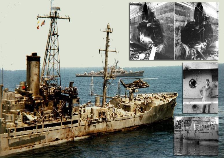 USS LIberty nakon ničim isprovociranog izraelskog napada.