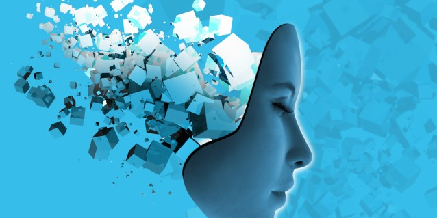 Conceptual image of female likeness face and abstract technology
