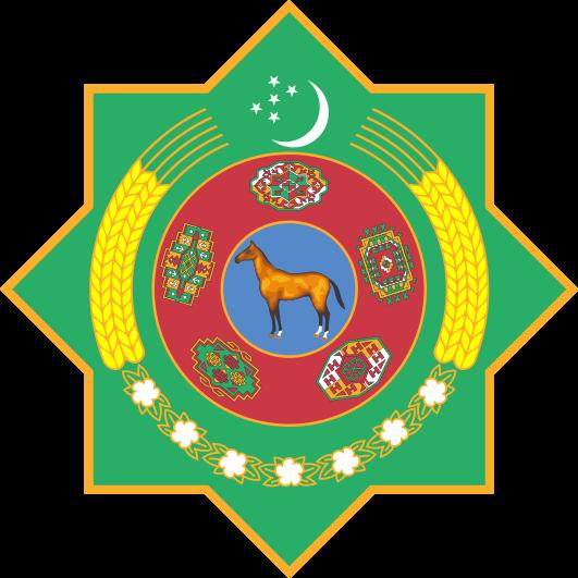Turkmenistanski grb sa zlatnim konjem u njegovom središtu.