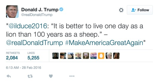 Trumpov citat Benita Mussolinija.