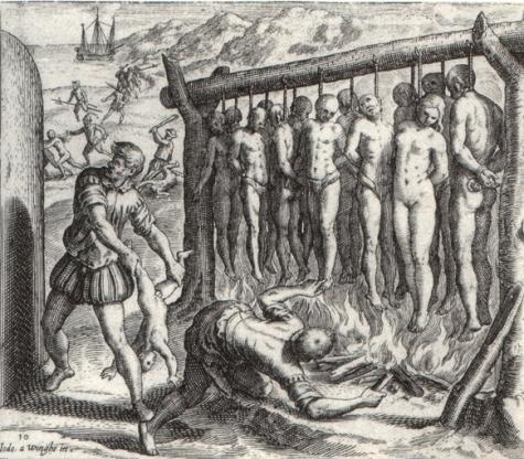 Prikaz flamanskog protestanta Theodor de Bry for Las Casas's Brevisima relación de la destrucción de las Indias španjolski genocid nad indiosima Kube