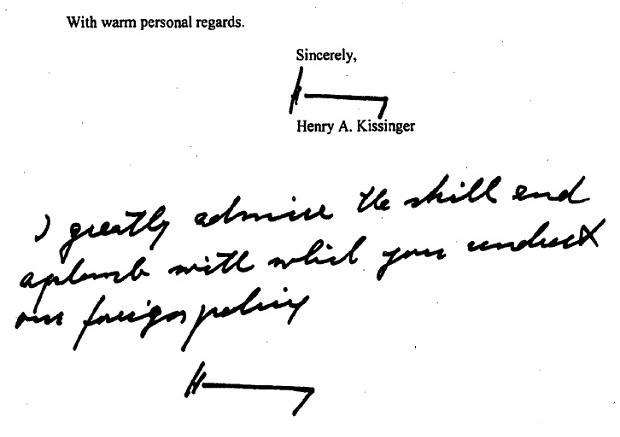 Prisna rukom pisana zahvalnica Henryja Kissingera, tadašnjoj državnoj tajnici Hillary Clinton.