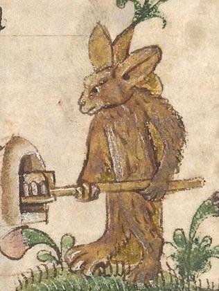 Srednjevjekovna marginalia, prikaz koji najviše podsjeća na uskršnjeg zeca.
