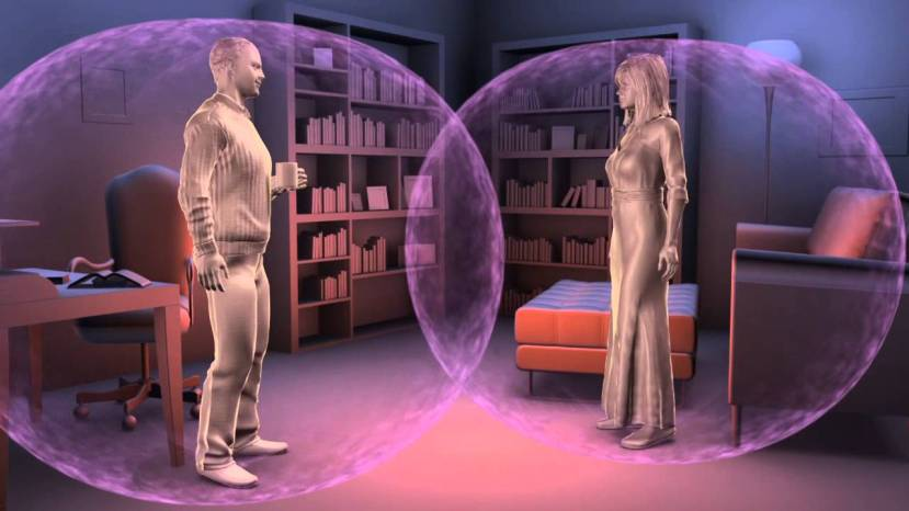 Čak i kada se nalazimo na daljini ugodnoj za razgovor, osjećamo EM polje drugog ljudskog bića, ili drugih ljudskog bića.