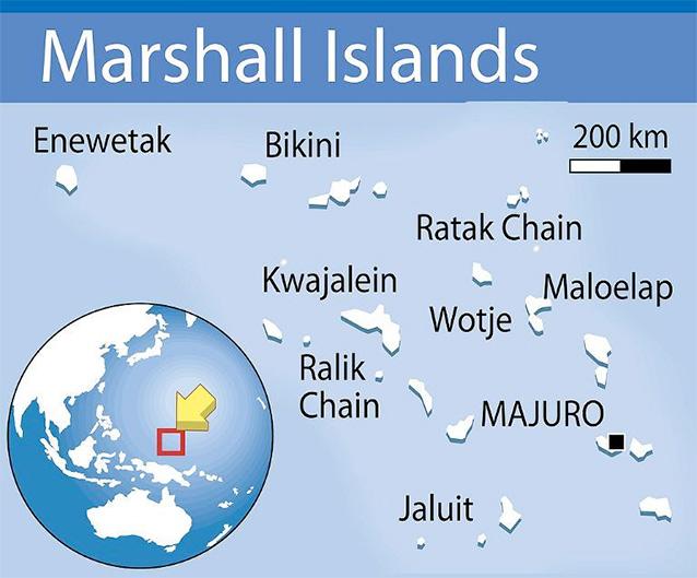 Karta Marshallovih otoka.