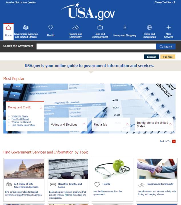 Službeni portal vlade Sjedinjenih Američkih Država.