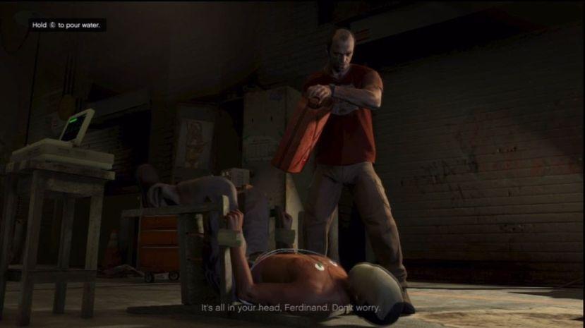 Na ovoj slici možete vidjeti Trevora koji muči čovjeka kako bi doznao informacije o čovjeku kojeg Michael treba ubiti. Da bi doznao informacije ima nekoliko alata s kojima ga može mučiti. Što mislite kako vaše dijete spava nakon ovoga?