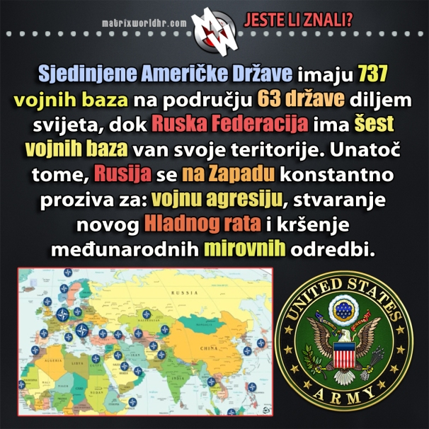 Iako se na zapadu tvrdi kako je Ruska Federacija najveća prijetnja globalnom miru, možda bismo trebali malo razmisliti gdje sve SAD imaju vojne baze po svijetu i koliko ih je.