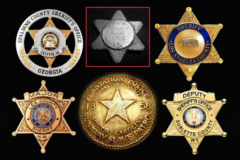 Nekadašnji bedževi robovske policije i današnji bedževi profesionalne policije. Pronađite sličnosti.