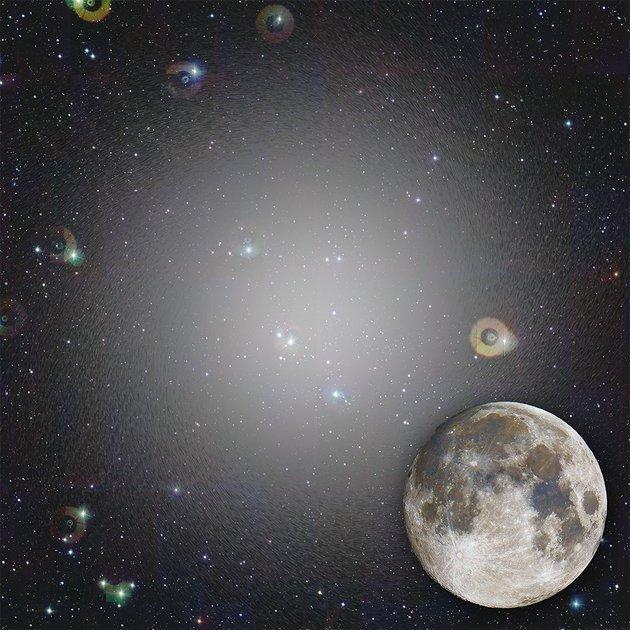 Na slici vidite kako bi Crater 2 izgledao da je 1000 sjajniji, uz Mjesec koji služi za referencu za veličine na noćnom nebu, gledanom sa Zemlje.