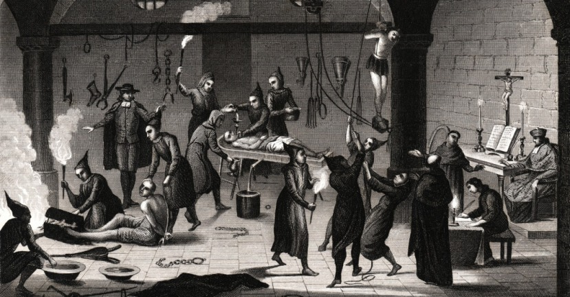 """Bakrorez koji pokazuje tipično """"ispitivanje"""" Inkvizicije u Španjolskoj."""