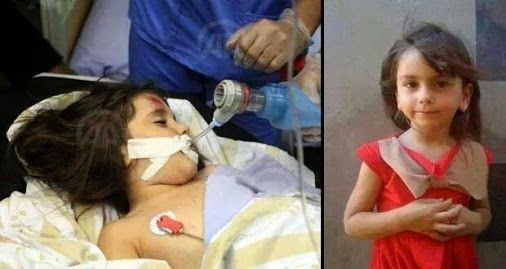 Einas Khalil snimljena netom prije smrti - lijevo, te snimljena na svoj peti rođendan - desno.