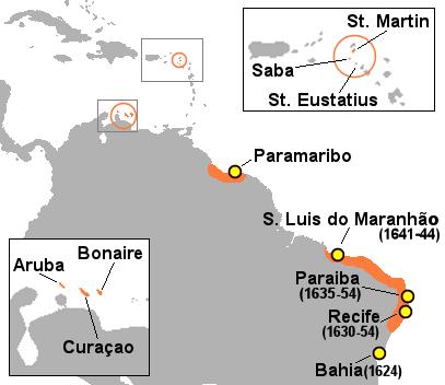 """Nizozemsk ekolonije u Karibima i Južnoj Americi tijekom """"zlatnog doba""""."""