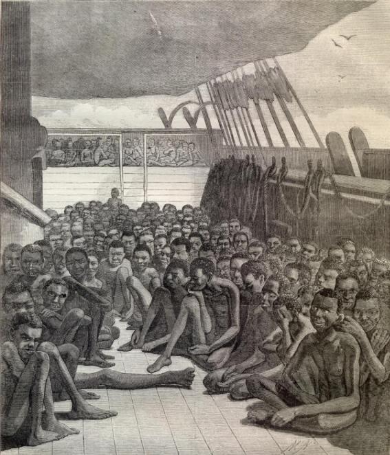 Gravura koja prikazuje nizozmesku prijevoz roblja. Gravura je vlasništvo Nizozemskog državnog arhiva.
