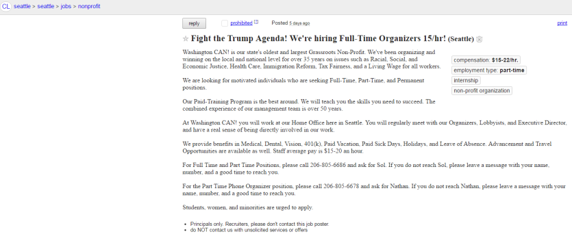 Oglas za plaćene prosvjednike protiv Trumpa.