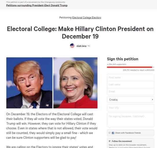 Peticija za mijenjanje elektorskog glasa u korist Hillary Clinton.