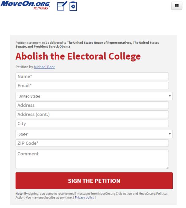 Opet MoveOn, ova put tu je peticija za ukidanje predsjdničkih elektora.