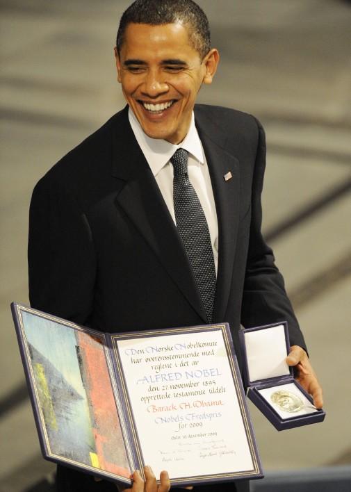 """Barack Obama, nasmiješeni """"mirotvorac""""."""