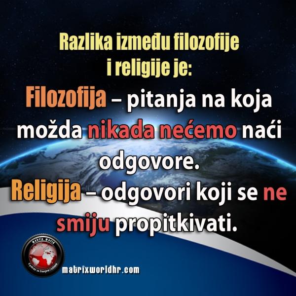 Razlika između filozofije i religije.