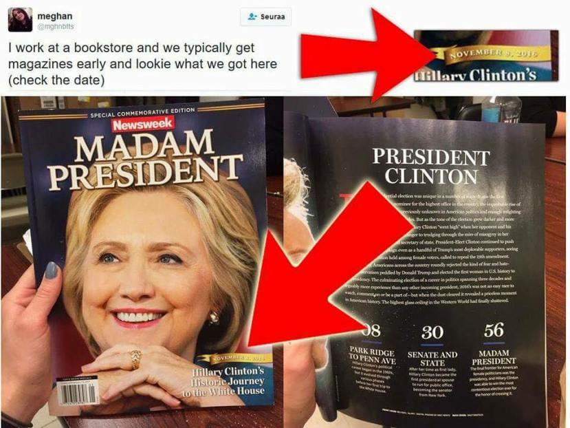 Mediji su u potpunosti bili spremni za Hillarynu pobjedu, to se najbolje vidi na uređenim tiskovinama koje su izašle prije objave oficijelnih rezultata.