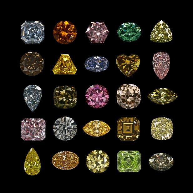 Različite boje dijamanata.