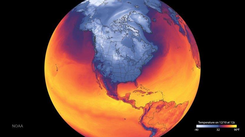 Satelitska temperaturna slika Sjeverne amerike snimljena od strane NOAA na dan 10.12.2016.