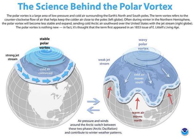 Znanstvenici još uvijek nisu u stanju objasniti zbog čega se kolebaju visinske zračne struje ili jet streams, zbog čijeg slabljenja super-ohlađeni polarni zrak dolazi sve do sub-tropskih područja SAD-a.
